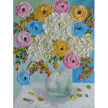 Custom Painting,White Hydrangea and Mixed Ranunculus Oil Painting, Apricot Yellows, Blues and Pink Ranunculus