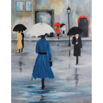 Rainy Day in Paris Landscape, Oil Textured Painting, Custom Painting