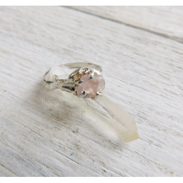 "Pink Champange Engagement Organic Ring,SIze 7 ""Can be Resized"" Raw Montana Sapphire Ring,  September Birthstone"