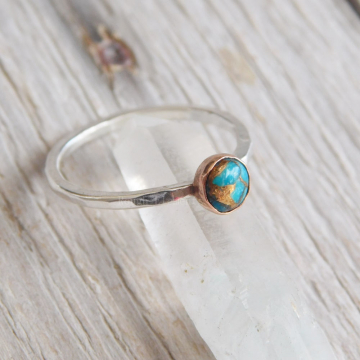 Mohave Turquoise Fine Silver and Copper Ring, Turquoise Stacking Ring, December Birthstone