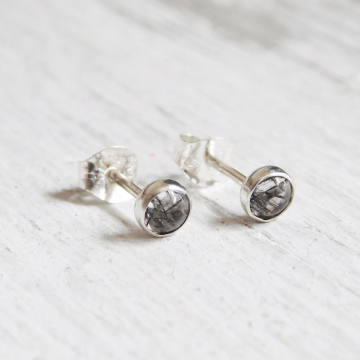 Dainty 4mm Tourmalated Quartz Fine Silver Studs, Fine Silver and Rutile Quartz Studs,Bridesmaid Studs