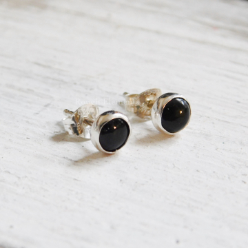 Black Onyx Studs and Fine Silver Studs, Onyx Earrings