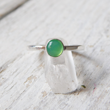 Chrysoprase Fine Silver Stacking Ring, Chrysoprase Stackable Ring, May Birthstone