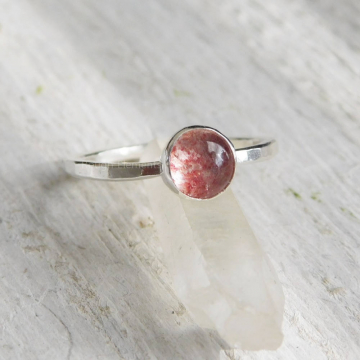 Strawberry Quartz Fine Silver Ring, Fire Quartz Stackable Ring, 6mm Strawberry Quartz