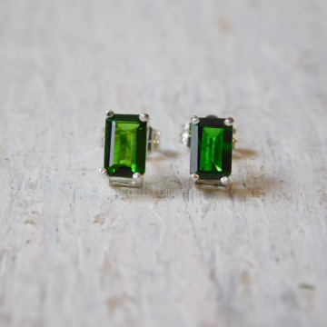 Chrome Diopside in Sterling Silver Basket Setting, 6x4 Emerald Cut Studs