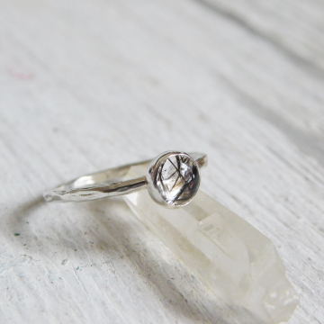 Tourmalated Natural Quartz Fine Silver Ring, Smooth, Branch, or Hammered Textured Style Tourmaline Ring
