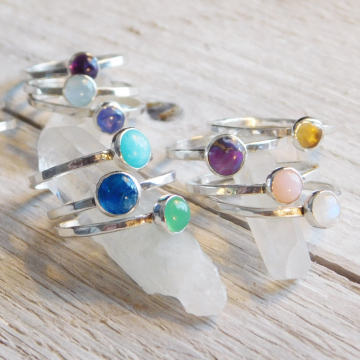 Fine Silver Gemstone Stacking Rings, Boho Rings, Choose Your Gemstone, 5mm Gemstone Stackable Ring