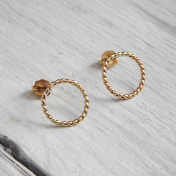 12mm Circle Twisted Rope Post Earrings,  14kt Gold Filled Rope Earrings, Everyday Earrings, Bridesmaid Gifts