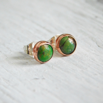 5mm Green Mohave Turquoise Studs in Copper and Sterling Silver Settings, December Birthstone