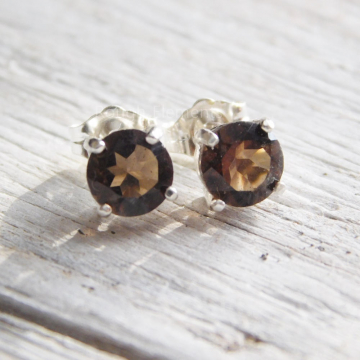Smoky Quartz 6mm Studs, Earthtone Earrings, Fall Earrings, Everyday Earrings