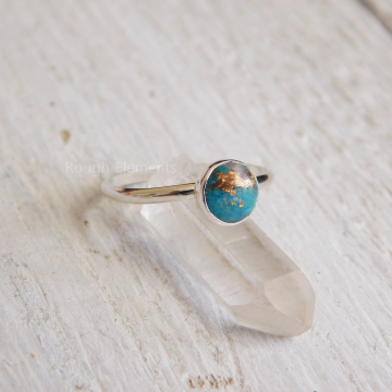 6mm Mohave Turquoise Fine Silver or Argentium Silver Ring, Turquoise Silver Stacking Ring, December Birthstone