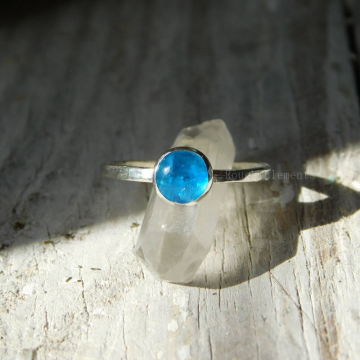 Blue Apatite RIng with Fine Silver Band or Argentium Silver Band, Blue Apatite Silver Stacking Ring,
