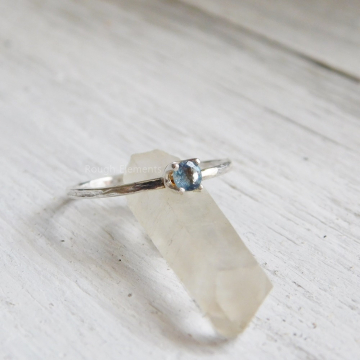Fine Silver Aquamarine 3mm Dainty Ring, Stacking Ring, Child, Teenager or Adult Ring, March Birthstone