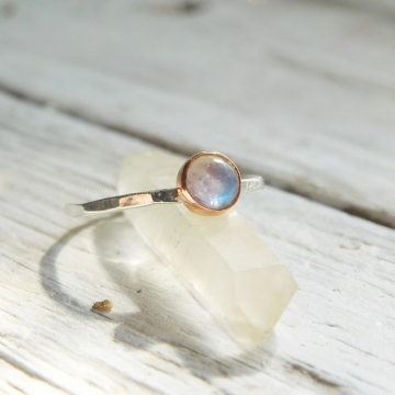 Moonstone Fine Silver and Copper, Rainbow Moonstone Silver and Copper Stacking Ring,