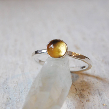 6mm Citrine Fine Silver Stackable Ring, Citrine Silver Stacking Ring, November Birthstone