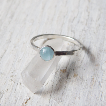 Aquamarine Fine Silver Stacking Ring, Aquamarine Stackable Ring,