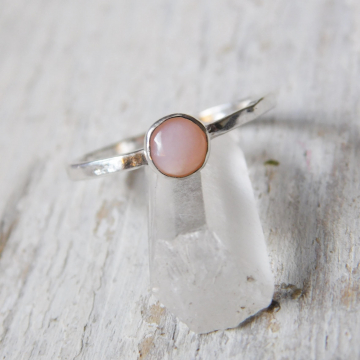 Pink Opal Fine Silver Stacking Ring, Pink Opal Stackable Ring, May Birthstone