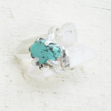 "Raw Natural Stone Kingman Turquoise Fine Silver Twig Ring, Size 7 ""Can be Resized"", December Birthstone"