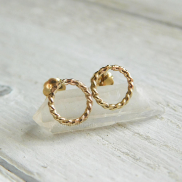 9mm Circle Twisted Rope Post Earrings,  14kt Gold Filled Rope Earrings, Everyday Earrings, Bridesmaid Gifts