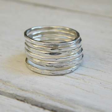 Thin Fine Silver Stacking Ring, Polished Silver Hammered Stacking Ring, Stackable Rings