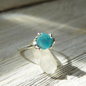 "Aqua Apatite Fine Silver Ring, Size 7, ""Can be Resized"", Raw Stone Engagement Ring, Promise Ring,"