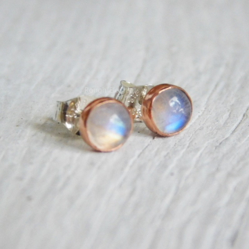Rainbow Moonstone Studs in Copper Setting, Small Studs, 5mm Cabochon Studs, Birthstone June