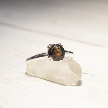 Smokey Quartz  and Agentium Silver  Solitaire Ring