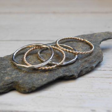 Set of Four Stacking RIngs,  Two 14kt Gold Filled Rope and Two Fine Silver Hammered Thin Stacking Rings, Dainty Stackable Rings