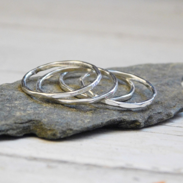 Set of Four Thin Fine Silver Stacking Ring,  Polished Silver Hammered Stacking Ring, Dainty Stackable Rings