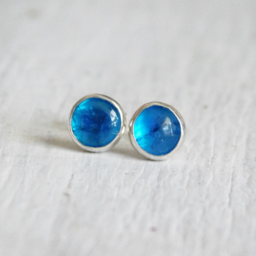Blue Apatite and Fine SIlver Studs, Apatite Earrings