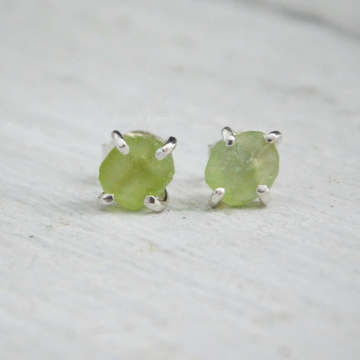 Rough Natural Peridot Fine Silver Earrings, August Birthstone, Peridot Post Earrings, Raw Peridot Studs