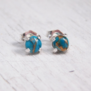 5mm Mohave Turquoise Studs in Sterling Silver Settings, December Birthstone