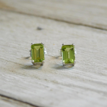 Peridot Emerald Cut  Earrings, Peridot Studs, August Birthstone