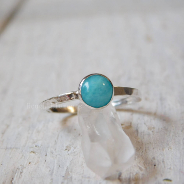 "Amazonite Fine Silver Stacking Ring, Amazonite Stackable Ring, ""Stone of Hope"""