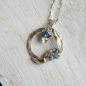 Leaf Infinity Circle Necklace with Montana Blue Sapphire, Montana Blue Sapphire Circle Leaf Necklace