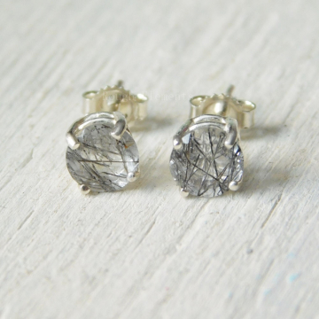 Rutilated Quartz Faceted 6mm Stud, Quartz Sterling Silver Earrings, Rutile Quartz