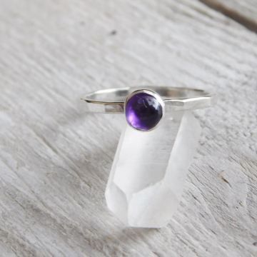 Amethyst and Fine Silver  Ring, Amethyst Stacking Ring, February Birthstone