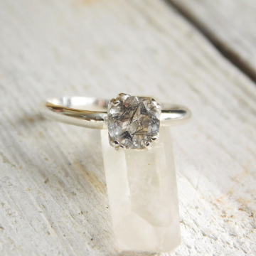Argentium Silver and 6mm Rutile Tourmalinated Quartz Solitare Ring, Anniversary, Engagement, Promise Ring