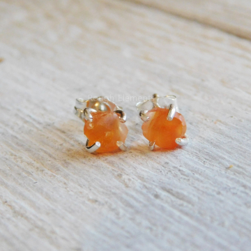 Raw Stone Carnelian Agate Fine Silver Studs, Orange Carnelian Agate Rough Stone Earrings