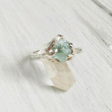 "Aquamarine Raw Stone Fine Silver Bypass  Ring,Size 7 1/2 ""can be resized"" March Birthstone, Engagement Ring, Birthstone Ring"