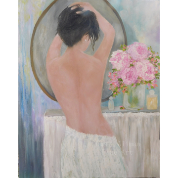 """Fine Art Figurative Oil Painting, Woman in the Mirror Painting, """"Morning Dressing Room"""""""
