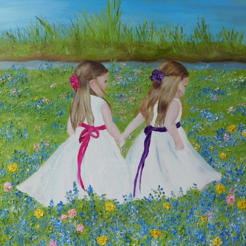 Custom Children's Painting, Portrait, Figurative Painting, Girls in a Field of Flowers