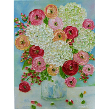 Custom Painting,White Hydrangea and Mixed Ranunculus Oil Painting, Choose Size