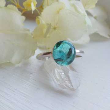 Sterling Silver Aqua Dandelion Ring, Make a Wish , Dandelion Stacking Ring