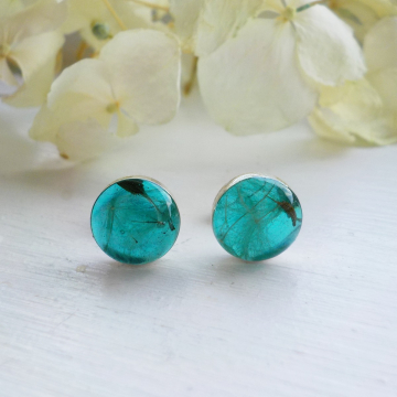Dandelion Seed 8 mm Studs, Sterling Silver Eco Resin Aqua Blue Dandelion Studs, Dandelion Seed Earrings