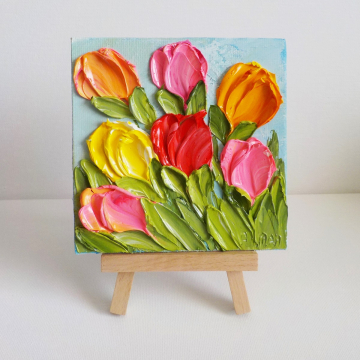 """Custom Order for Micheal Tulip 4""""x 4"""" Oil Impasto Bright Tulip Painting with Easel"""