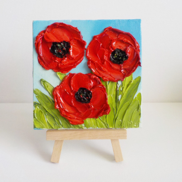 """Miniature Panel 4""""x 4"""" Red Poppy Oil ImpastoPainting with Easel, Gift boxed"""