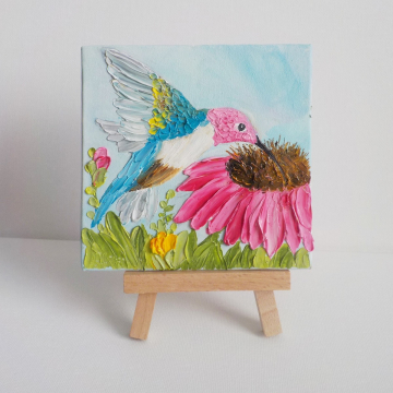 Hummingbird and Cone Flower Oil Impasto Painting, Pink Tulip Painting with Easel, Gift boxed