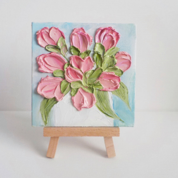 """Miniature Panel Pink Tulip 4""""x 4"""" Oil Impasto, Pink Tulip Painting with Easel, Gift boxed"""