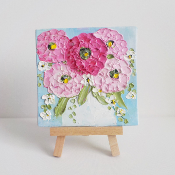 """Miniature Panel 4""""x 4""""  Pink Zinnia Oil Impasto Painting, Pink Tulip Painting with Easel, Gift boxed"""